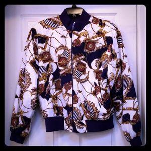 Vintage 90s scarf print bomber jacket